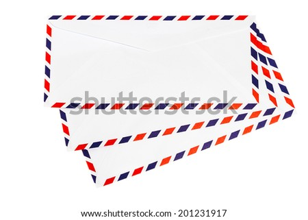 Isolated airmail envelope on white background - stock photo