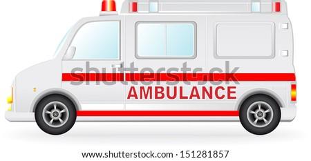isolated ambulance car silhouette on white background - stock photo