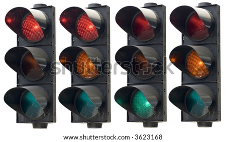 Isolated angle view on traffic light in all combinations. Cut and use. - stock photo