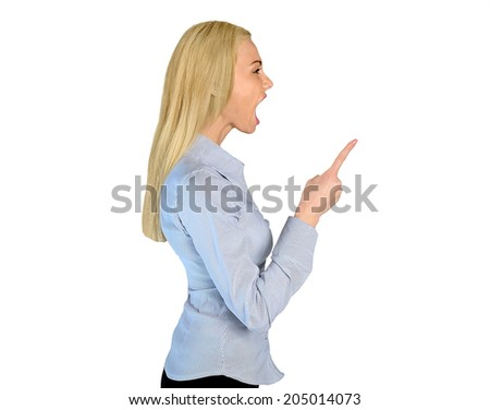 Isolated angry woman pointing finger - stock photo