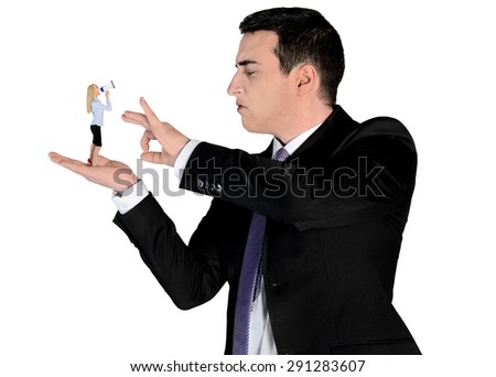 Isolated arrogant business man finger flipping on little woman - stock photo