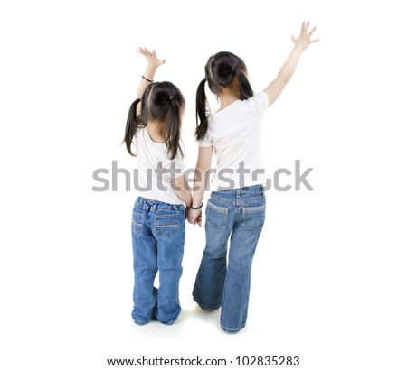 isolated asian girls raising hands, full body - stock photo