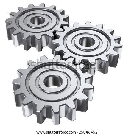 Isolated astract gears. 3D illustration. - stock photo