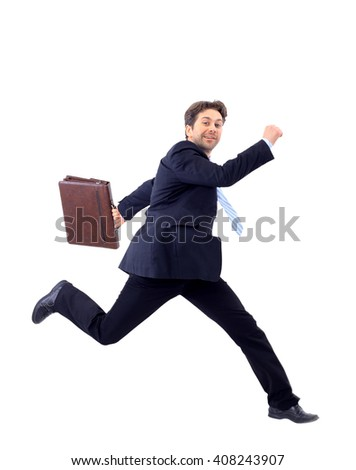 Isolated attractive business man running away from someone  - stock photo