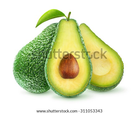 Isolated avocado. Fresh avocado fruits cit in half isolated on white background, with clipping path - stock photo