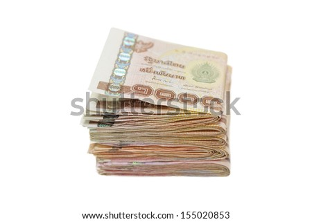 isolated 1000 baht note in white background - stock photo
