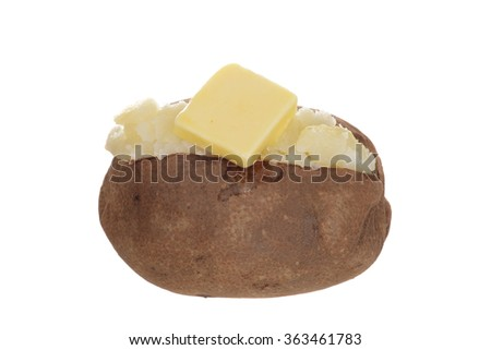 isolated baked potato with butter - stock photo