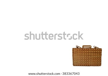 Isolated Bamboo Basketry Chest On White Background - stock photo