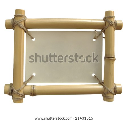 isolated bamboo frame on white background for announcement with clipping path - stock photo
