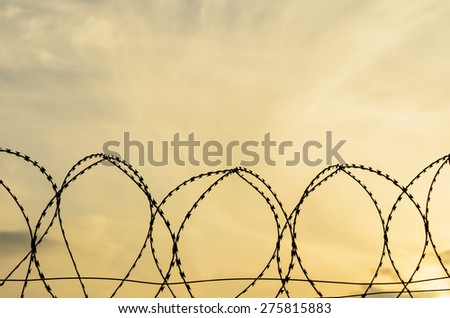 isolated barbed wire with cloudy sky - stock photo
