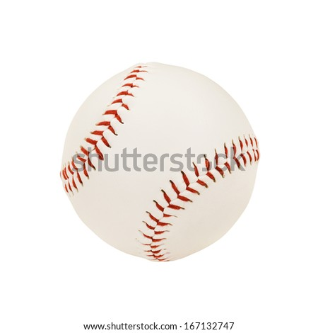 Isolated Baseball Over White Background (with clipping path) - stock photo