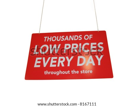 Isolated big, red and shiny retail sale shopping sign hanging from the ceiling of a store, with a spotlight shining on the word ?DAY?. - stock photo