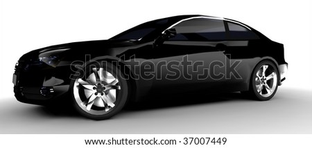 isolated black business car back - stock photo