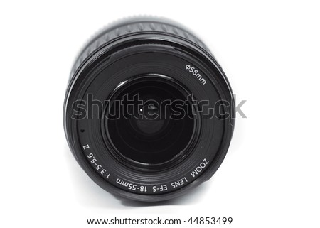 Isolated black camera lens - stock photo