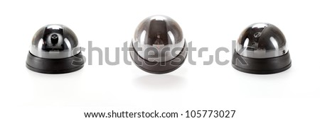 Isolated black Dome Camera collage  with leds on white background - stock photo