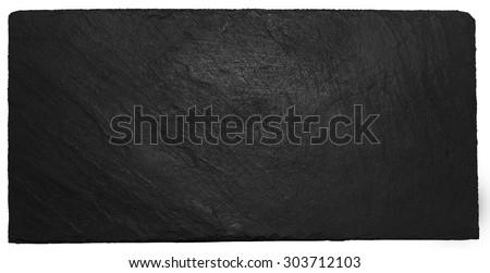 isolated black slate with chalk - stock photo