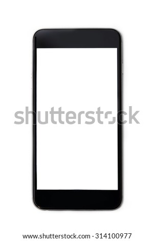 isolated black smartphone with blank screen - stock photo