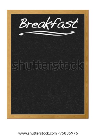 Isolated blackboard with breakfast. - stock photo