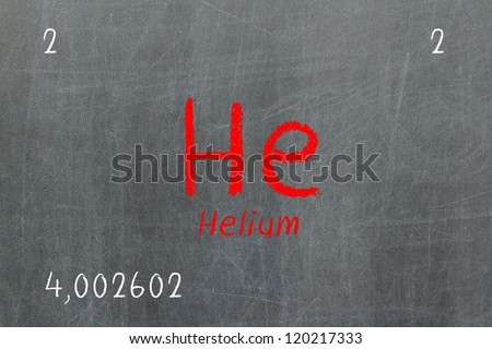 Isolated blackboard with periodic table, Helium, Chemistry - stock photo