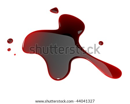 isolated blood blot on white background - stock photo