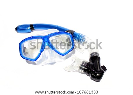 Isolated blue snorkel and mask used for snorkeling and scuba. - stock photo