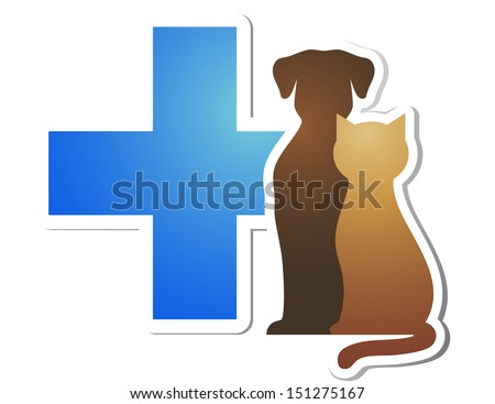isolated blue veterinary cross and pets on white background - stock photo