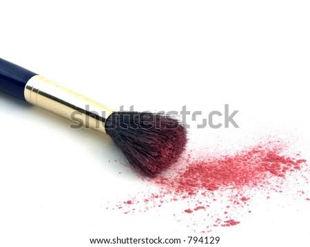 isolated blush brush and powder - stock photo
