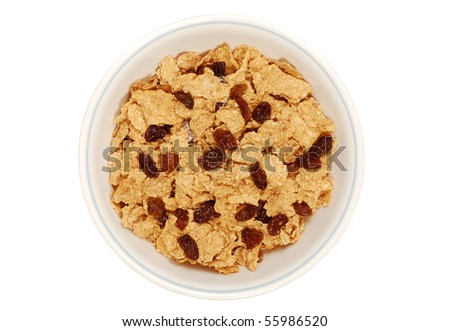 isolated bowl of bran and raisin cereal - stock photo