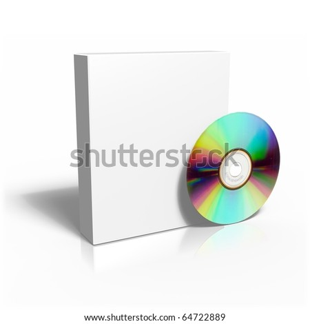 Isolated Box with CD on wite background - stock photo