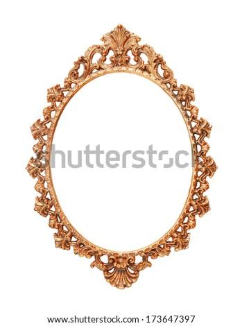 isolated bronze vintage metal frame - stock photo