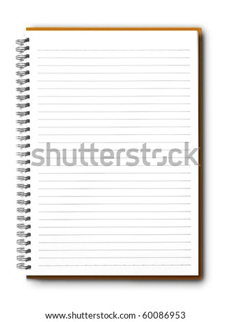 isolated brown notebook on white. - stock photo