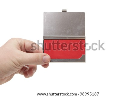 isolated business card holder in a man's hand. Just add your text - stock photo