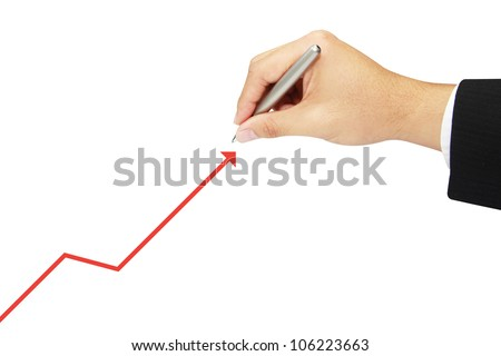 isolated business drawing growth diagram - stock photo