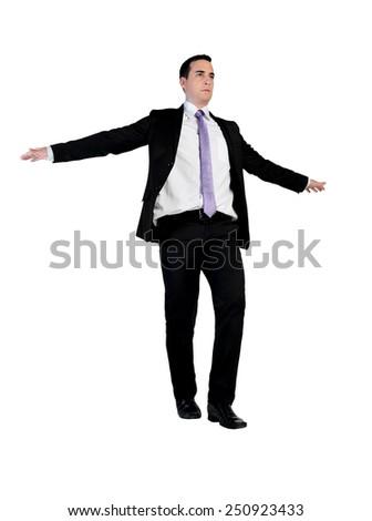 Isolated business man balance walk - stock photo