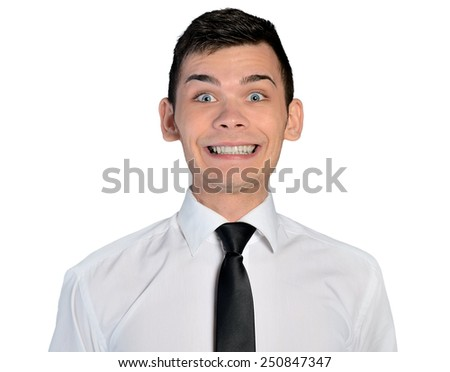 Isolated business man big smile - stock photo
