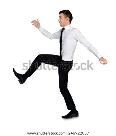 Isolated business man big step - stock photo