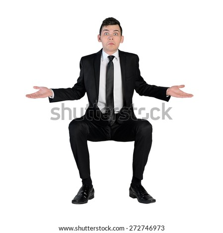 Isolated business man confused expression - stock photo
