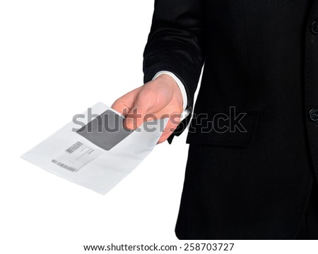 Isolated business man delivery mail - stock photo