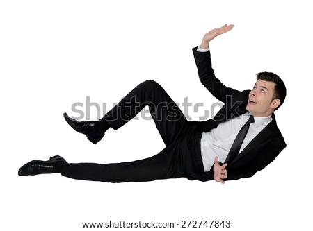 Isolated business man dodge something - stock photo