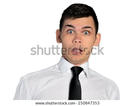 Isolated business man fear face - stock photo
