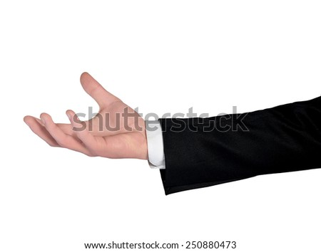 Isolated business man hand hold something - stock photo