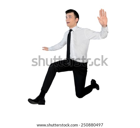 Isolated business man jump side - stock photo