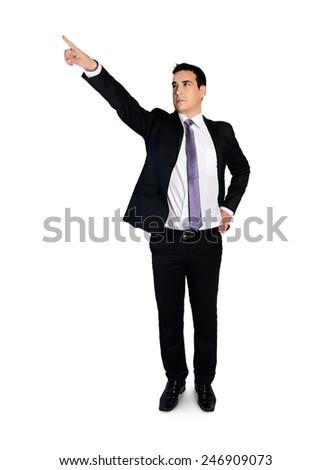 Isolated business man press something - stock photo