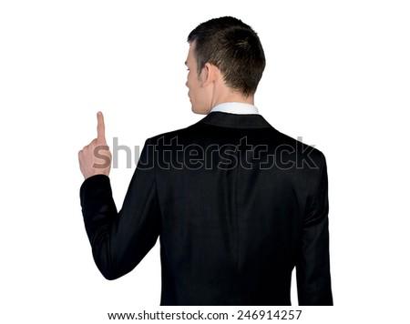 Isolated business man pressing something - stock photo