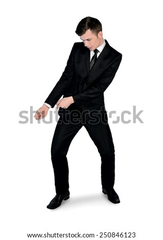 Isolated business man pull something - stock photo