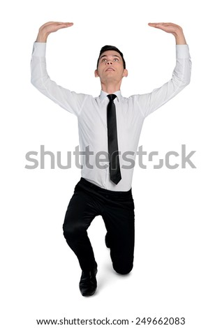 Isolated business man push something - stock photo