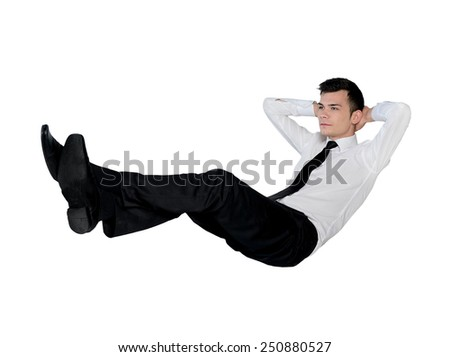 Isolated business man relaxing position - stock photo