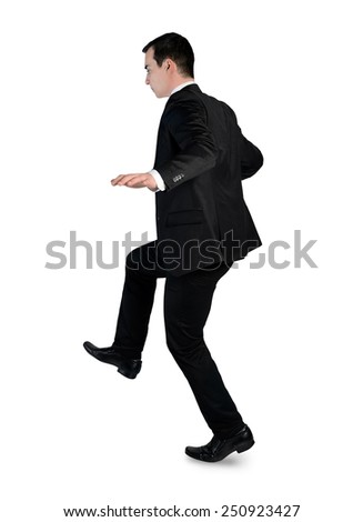 Isolated business man risk step - stock photo