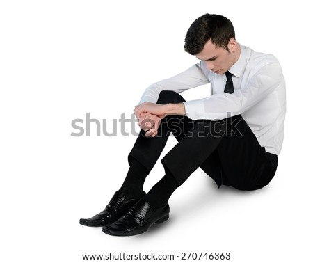 Isolated business man sad lay down - stock photo