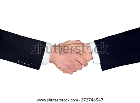 Isolated business man shake hands closeup - stock photo